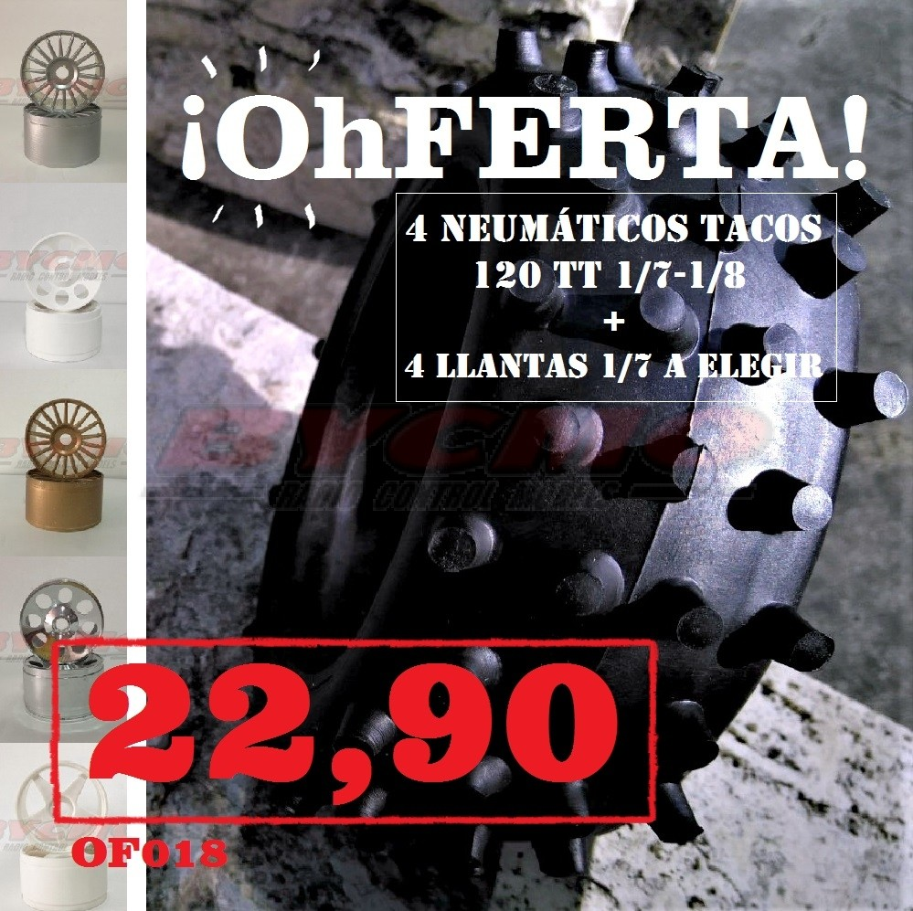 CONJUNTO NEUMATICOS TACOS 120 TT 1/7-1/8 (4U) + LLANTAS 1/7 A ELEGIR (4U)