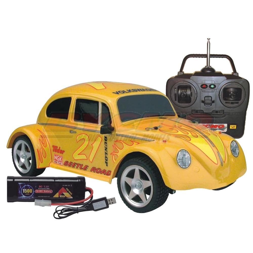 COCHE RC VW BEETLE ELECTRICO 2WD AMARILLO RTR 1/10