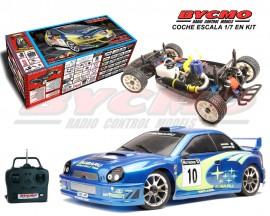 COCHE COMPLETO EN KIT SUBARU WRC 2002 SERIE EVO +EQUIPO R/C STICKS
