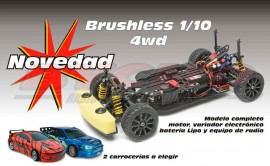 COCHE TUNING TIGER 1/10 BRUSHLESS +EQUIPO R/C STICKS